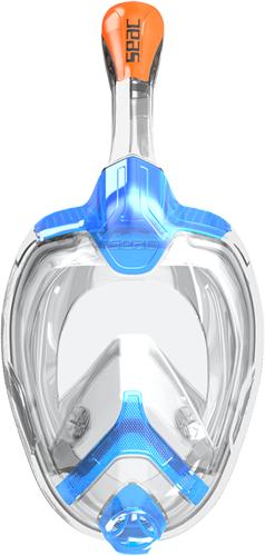 Seac Full Face Snorkeling Mask Unica L/Xl (Regular Fit) Transp. Silicone Blue/Orange